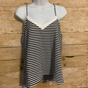 Zara trafaluc medium striped black white top